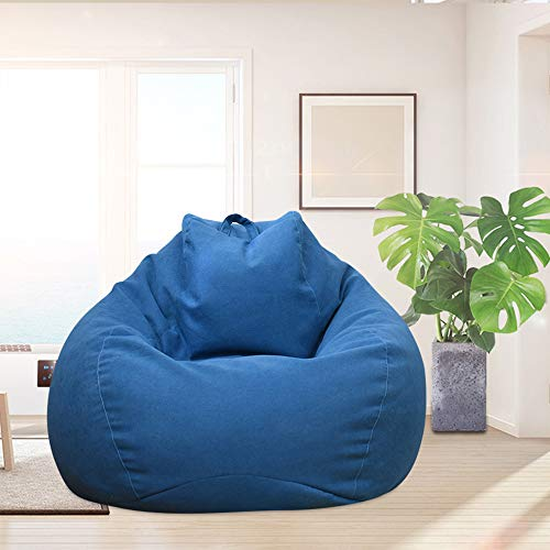 You's Auto Puff Sofás Cubierta Sillas Sin Relleno de Tela de Lino Puff Sofá Vida Habitación Tres Tallas (Azul, 100_x_120_cm)