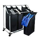 Grafner Wäschesortierer   4 Fächer   mit Rollen   schwarz   stabil   bis 20 kg   Wäschesammler Wäschekorb Wäschebox