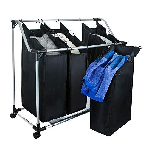 Grafner® Wäschesortierer | 4 Fächer | mit Rollen | schwarz | stabil | bis 20 kg | Wäschesammler Wäschekorb Wäschebox