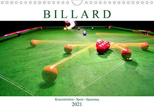Billard. Konzentration - Sport - Spannung (Wandkalender 2021 DIN A4 quer)