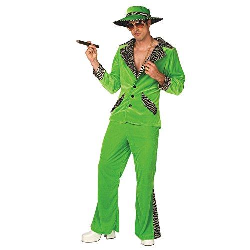 Morph Herren Grün Zuhälter Kostüm Samtanzug für Junggesellenabschied Party Kostüm - XL (117-122 cm Brustumfang)