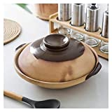 YANJ Cazuela de cerámica con Tapa, Olla de Barro Utensilios de Cocina Cazuela de Barro de Donabe Olla de Barro para estofado Utensilios de Cocina para Sopa Olla de Sopa Olla Caliente Ca