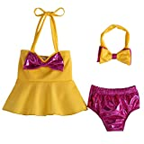 SOONHUA - Traje de baño para bebé, 3 piezas/set de moda de verano para niña, traje de baño de playa con lazo Amarillo amarillo 120 cm