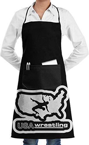 Drempad Unisex Latzschürze Michigan USA Wrestling 1 Waschbare Polyester Backschürze für Frauen