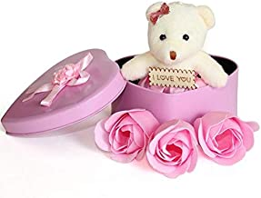 KABIR COLLECTION Best Love Gift for Someone Special Heart Shape and red Rose Flower Petals with Box & Soft Teddy Bear (Pink)