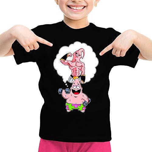 OKIWOKI Dragon Ball Z - Spongebob Schwammkopf Lustiges Schwarz Mädchen Kinder T-Shirt - Patrick Star und Majin Boo (Dragon Ball Z - Spongebob Schwammkopf Parodie signiert Hochwertiges T-Shirt in Gr