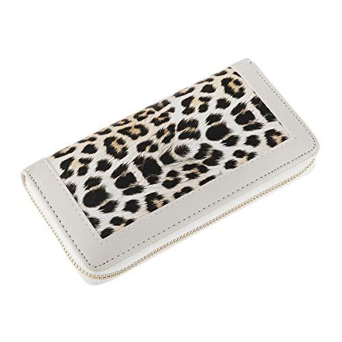 Animal Print Zip Around Wallet - Card Phone Clutch Purse Elephant,Leopard,Snake (Long Zip Around - Luxe Leopard White)