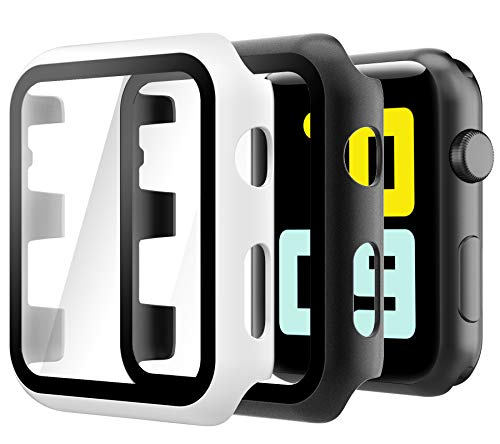 Hianjoo Cover [2-Pack] Compatibile per Apple Watch 38mm Pellicola Proteggi Schermo, Custodia con Vetro Temperato per Compatibile con Apple iWatch 38mm Series 3/2/1 - Nero,Bianco