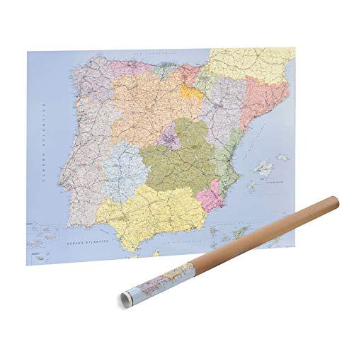 Mapa de España y Portugal Plastificado 98 x 134 cm.