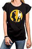 MAKAYA T-Shirt Manga Corta - MIA & Vincent Bailando - Camiseta para Mujer Pulp Fiction Negro Talla L