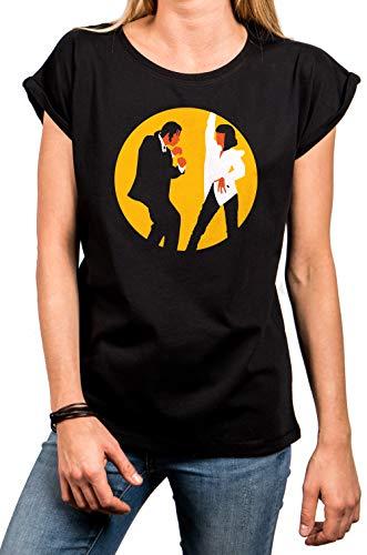 MAKAYA Magliette Danza Donna - Mia & Vincent Pulp Dance - T-Shirt Manica Corta Cotone Nero S