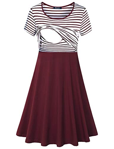 Product Image of the Quinee Patchwork Dress, Mama Short Sleeve Crew Neck Stripes Clothes for Nusring...