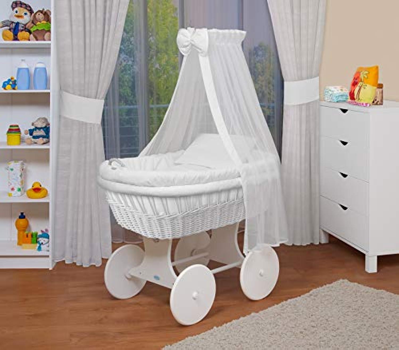 WALDIN Baby Stubenwagen-Set mit Ausstattung,XXL,Bollerwagen,komplett,18 Modelle whlbar,Gestell Rder wei lackiert,Stoffe wei