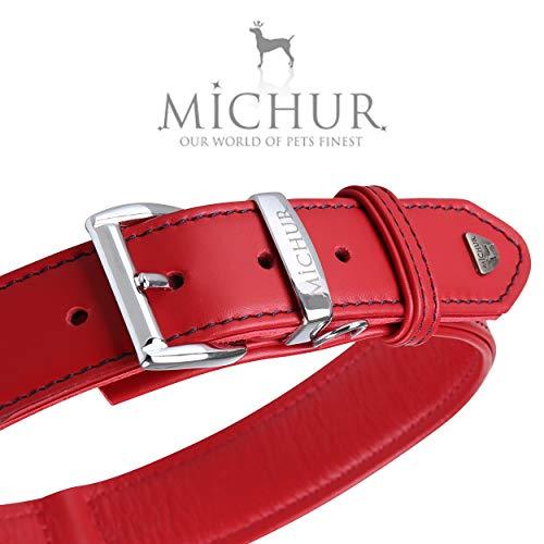 MICHUR Classica Collar de Cuero para Perros, Cuello, Rojo