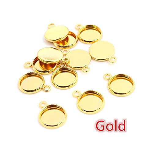 Accessorie 8 10 12 14 16 18 20 25 mm redondo Cabujón Base Bezels Ensamblaje en blanco Suministros para la fabricación de joyas Resultados Pulsera Colgante Oro-12 Mm X 50pcs