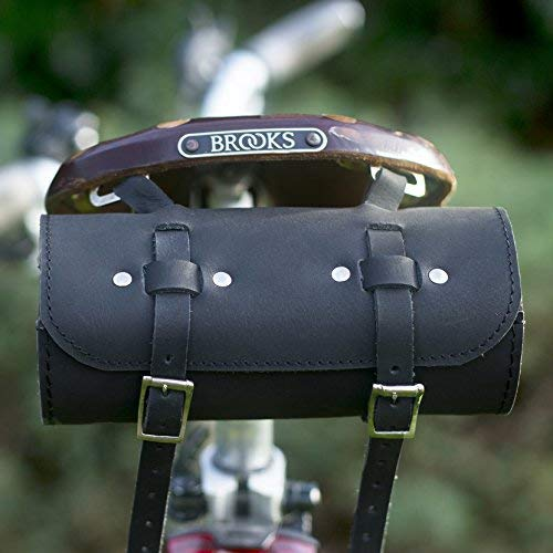 Amazing Deal London Craftwork Roll Genuine Leather Saddle Bag Handlebar Frame Bag in Black UK Made T...
