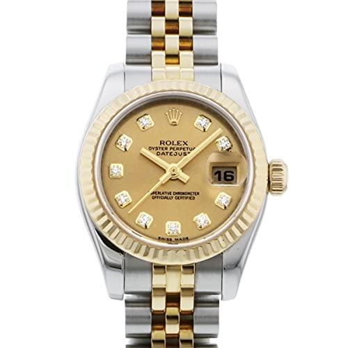ロレックス ROLEX デイトジャスト ステンレス・イエローゴールド レディース 179173G シャンパン文字盤 中古 腕時計 (W208673) [並行輸入品]
