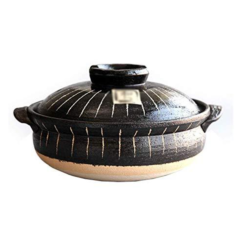 CUJUX Céramique Casserole, Casserole Cocotte céramique marmite à Soupe Haute température Pierre Pot de Terre Faitout avec Couvercle