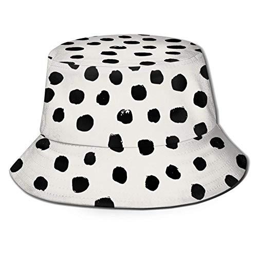 Manchas Blancas y Negras Dálmatas Manchas de Animales Parte Superior Plana Sombreros de Cubo Transpirables Ranas Unisex con Gafas Sombrero de Cubo Sombrero de Pescador de Verano