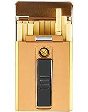 BNMY Portasigarette Donna con Scatola Accendisigari Portatile, 20 Pezzi, 100 Secondi, con Accendini USB, 2 in 1, Ricaricabile, Senza Fiamma, Antivento