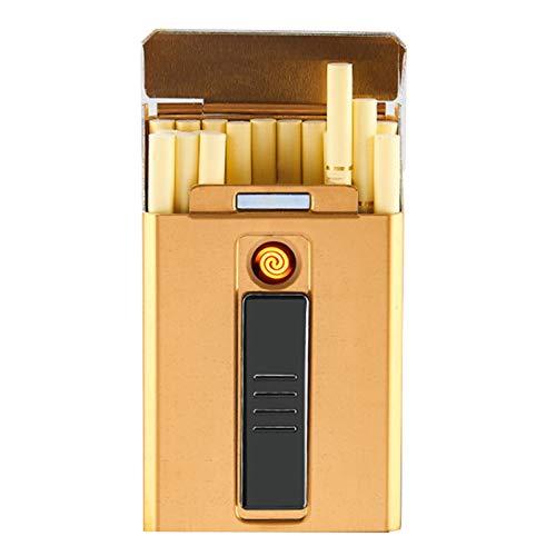 BNMY Zigarettenetui Mit Feuerzeug, Zigarettenbox, Für 20 Stück Normale Zigaretten, Tragbar, King-Size-Zigaretten, USB-Feuerzeug, Wiederaufladbar, Flammenlos, Winddicht, Elektrisches Feuerzeug,Gold