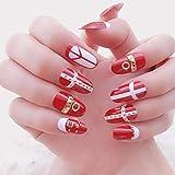 Pieza roja con decoración de arte de uñas de metal con 24 piezas/set Cabeza redonda de gran tamaño Uñas falsas Mujeres Estilo de moda pop Falso