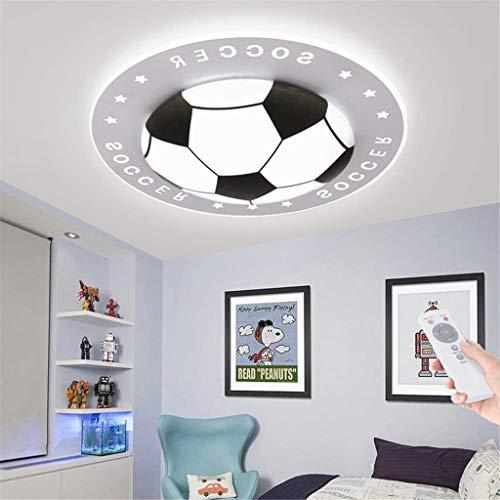 Fußball Kinderzimmer Deckenleuchte,LED Dimmbar Farbwechsel Deckenlampe Acryl Lampenschirm Deckenleuchten Für Kinder Augenschutz Deckenleuchte Schlafzimmer Dekoration Licht,Schwarz,52cm(40W)