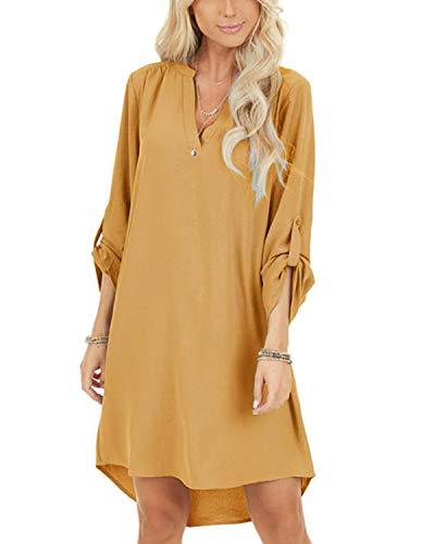 YOINS Damen Kleider Tshirt Kleid Sommerkleid für Damen Brautkleid Langarm Minikleid Kleid Langes Shirt V-Ausschnitt Lose Tunika mit Bowknot Ärmeln Gelb M