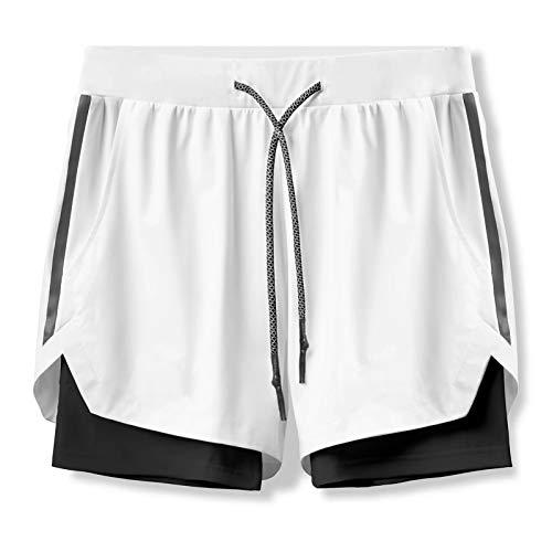 LYKH Pantalones Cortos Deportivos Secado rápido portátil Pantalones Cortos de Fitness Shorts Deportivos de Doble Capa Baloncesto Entrenamiento en Bicicleta fútbol con Bolsillos,Blanco,XL