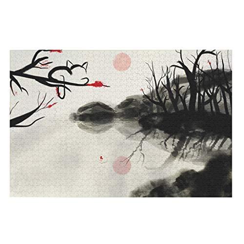 NA Aquarell Japanisch Rot Pflaume Bäume Blüte Rot Sonne See Malerei Druck Spaß Puzzle für Erwachsene Kinder 500/1000 Stück White 1000pieces
