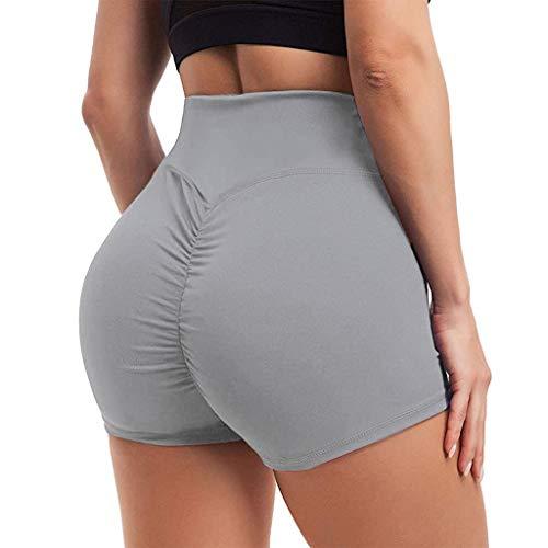 kolila Yoga Shorts for Women High Waist Butt Scrunch Booty Spandex Gym Workout Shorts Yoga Sport Pants (Gray,S)