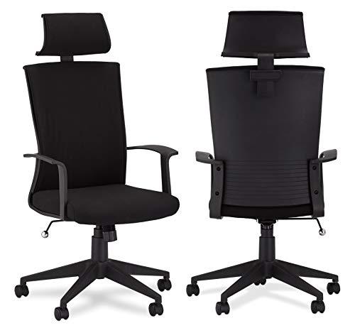 Ibbe Design Ergonomisch Schwarz Bürostuhl Schreibtischstuhl Bolero mit Armlehne, Höhenverstellbar, Drehstuhl, Belastbar bis zu 150kg, 60x61x130 cm