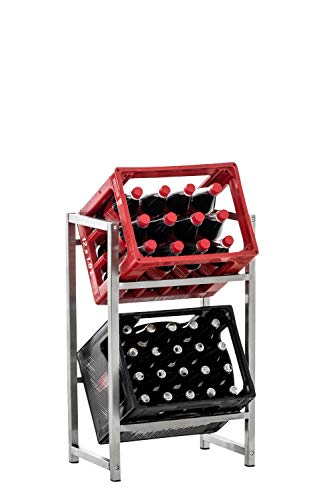 CLP Getränkekistenständer LENNERT I Platzsparender robuster Kistenständer für Getränkekisten I Verschiedene Ausführungen, Farbe:Edelstahl, Größe:S