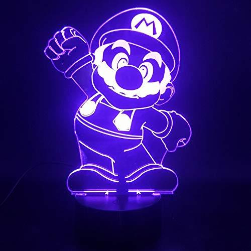Sanzangtang Led-nachtlampje, 3D-vision-zeven-kleuren, verrekijker, cartoon-spel, groet, schattig cadeau voor tieners, batterij, kleurrijk met afstandsbediening, acryl, nachtlampje voor volwassenen