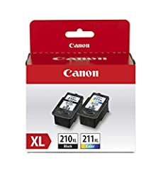 The PG-210 XL Black ink is used for printing documents on plain paper and ensures sharp black text. The CL-211 XL Color ink is used for printing colorful photos and images. Genuine Canon inks provide peak performance that is specifically designed for...
