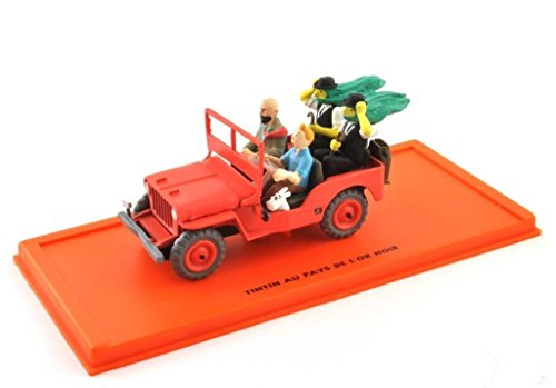 DieCast Metall Miniaturmodelle Modellauto 1:43 Tim Struppi Tintin Comic Collection Jeep Willys 1943 inklusive Figuren und Kunststoff Vitrine