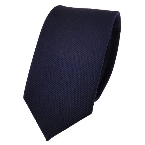 TigerTie schmale Designer Krawatte in blau dunkelblau marine einfarbig Uni Rips gemustert