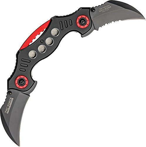 TAC Force TF-669BK Assisted Opening Tactical Double-Blade Folding Knife, Black Handle, 5-1/4-Inch Closed