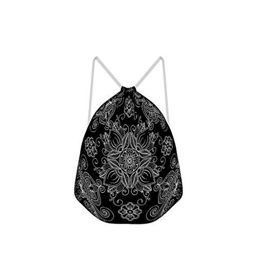 Lind88 Rucksack mit Kordelzug, Mandala-Motiv, nicht durchsichtig, Polyester, Sport-Rucksack, Yoga, für Männer und Frauen, 41 x 34 cm, Weiß, 6 Stück