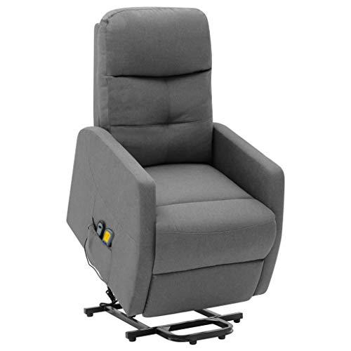 vidaXL Massagesessel mit Aufstehhilfe Heizung Elektrisch TV Sessel Fernsehsessel Relaxsessel Ruhesessel Polstersessel Liegesessel Hellgrau Stoff
