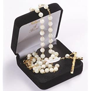 Customer reviews Confirmation Present. Hand made Mother of Pearl Rosary Beads. Genuine Mother of Pearl Rosary. Perfect Confirmation Gift.