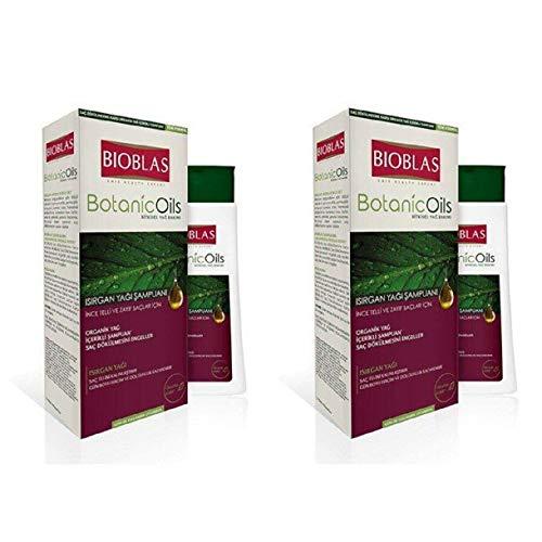 2x360ml (720ml) Bioblas Brennnessel Shampoo, Haarpflege für feines und kraftloses Haar mit Brennnesselöl - Anti Haarausfall Shampoos für Frauen und Männer, mit Bio-Öl