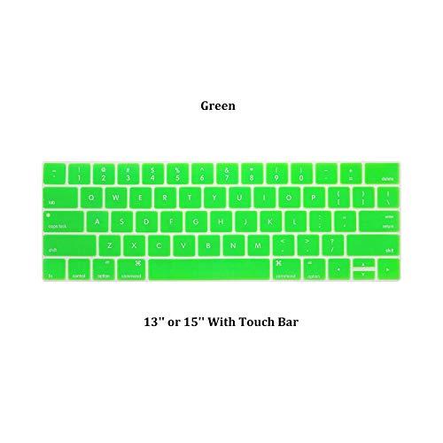 1 siliconen beschermhoes voor gekleurd toetsenbord, bescherming voor de huid, stofbescherming, voor Macbook Pro 13/15 inch, accessoires voor notebook Groen