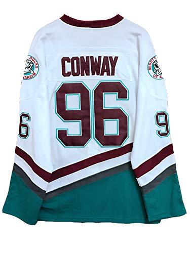 Gmjay Charlie Conway # 96 Mighty Ducks Jersey de Hockey sobre Hielo Hockey sobre Películas Números de Letras Cosidas en Blanco S-XXXL,S