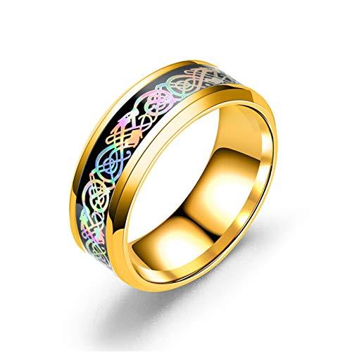 AnazoZ Anillos para Hombre de Acero Inoxidable Patrón de Dragón Colorido Anillo de Compromiso Hombre y Mujer Oro Colorido Anillo Talla 30