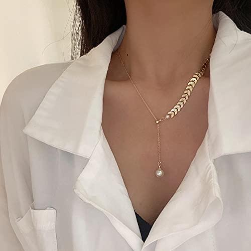 Collares Joyería Colgantes Collares De Perlas De Simulación De Declaración para Wowen Ladies Small Link Chain Gargantilla Collar Joyería Delicada