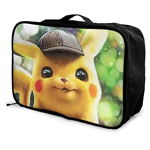 Pikachu Bolsa de viaje impermeable a la moda, ligera, de gran capacidad, portátil, bolsa de equipaje de fin de semana