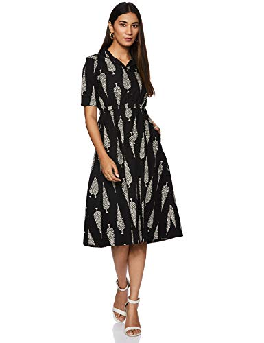 Amazon Brand - Myx Women's Cotton Shirt Kurta (SS20MYXCORE05_Black_Large)