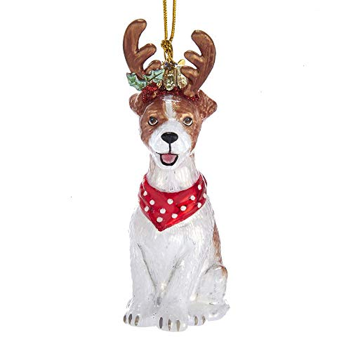 Kurt Adler Noble Gems Jack Russell Terrier with Antlers Glass Hanging Ornament