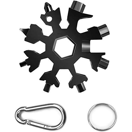ECHG 18-in-1 Schneeflocken-Multi-Tool, Edelstahl, tragbares Multi-Tool mit Schlüsselanhänger & Karabiner-Clip für Outdoor-Reisen, Camping, tägliches Werkzeug (schwarz)